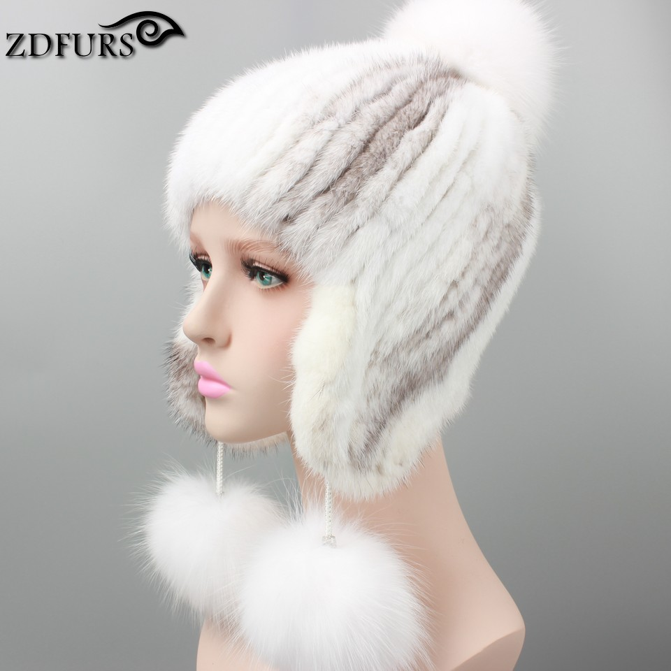 2017 Real Mink Fur Hats for Winter Women Fur Cap with Fox Fur Pom Pom Top High Quality Luxury Female Knitted Fur Beanies Russian genuine mink fur hat for women winter imported whole mink fur cap floral pattern 2015 russian high end luxury female hats