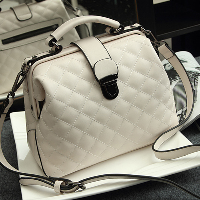 Women Bags Doctor-Bag Crossbody-Handbag Rivets Small Plaid Genuine-Leather Fashion