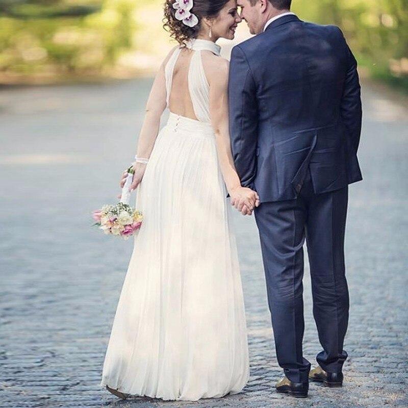 Halter Chiffon Boho Wedding Dress Floor Length Simple Vintage Beach Cheap  WEdding Dress hippie wedding gown vestido de casamento-in Wedding Dresses  from ... 28786301edd0