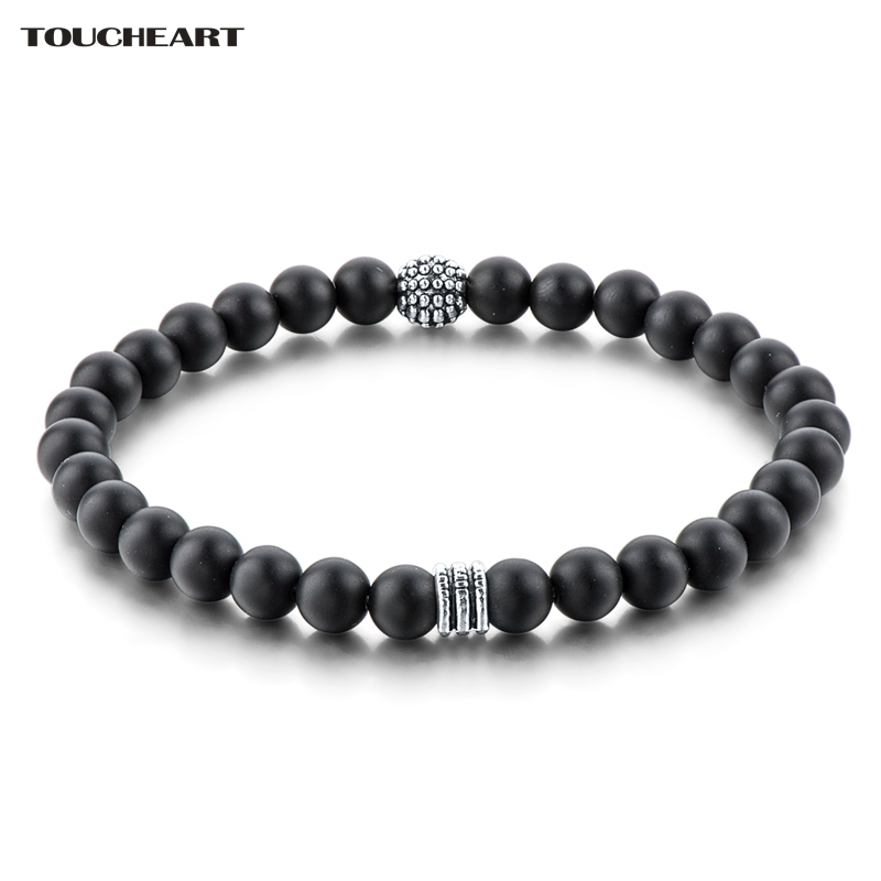 TOUCHEART Classic 6mm Black Matte Onyx Men Strand Bracelets Silver color Bracelets & Bangles Famous Brand Jewelry SBR160122