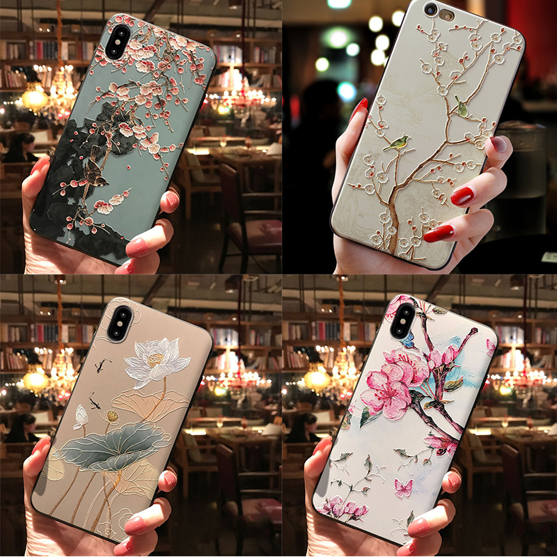 Flower Cute 3D Emboss Patterned Phone Case For iPhone XS Max X 8 7 6 6S Plus XR Cases Soft Silicone Cover For iPhone 5 5S Coque