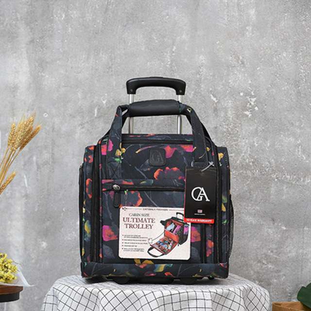 fashion Luggage Metal Trolley Travel Bags Women girls Flower Suitcase on Wheels Valise Bagages 16 inch