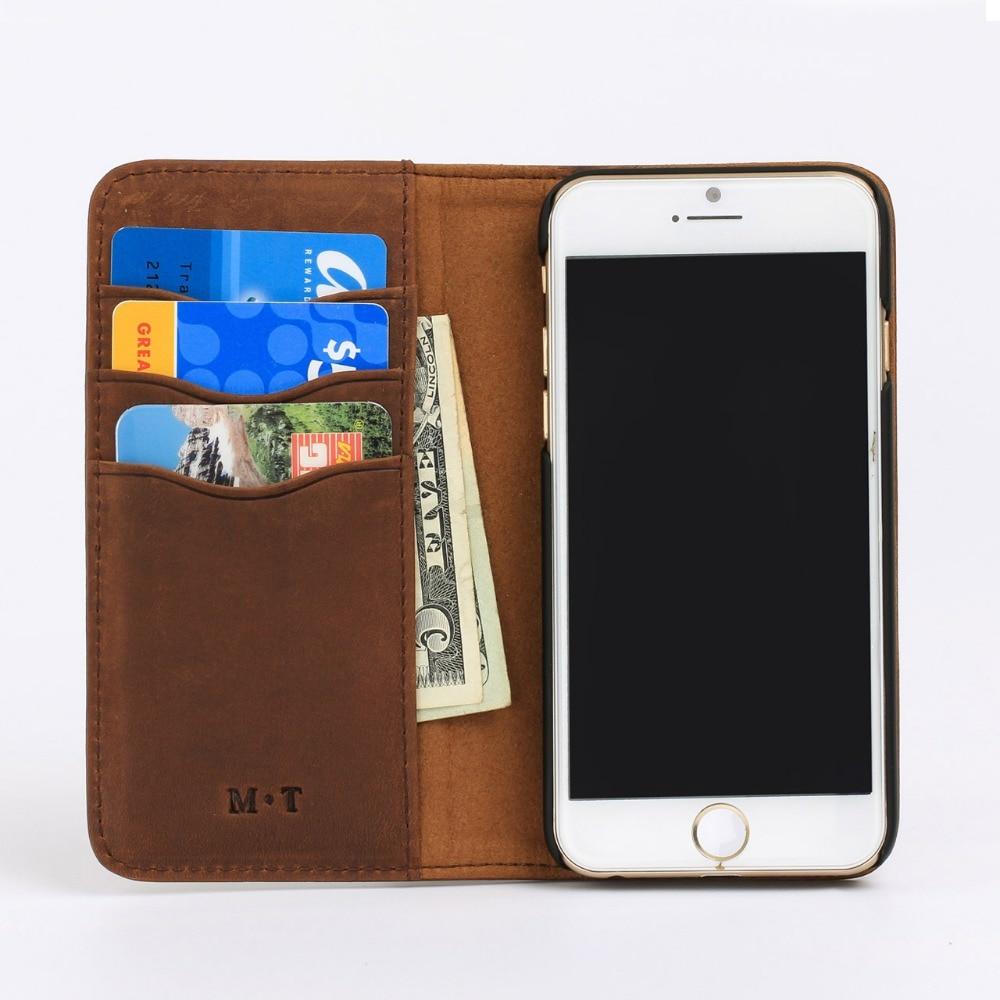 2018 nouveau sac de téléphone de mode fentes de carte séparées étui pour iphone 6 en cuir de cheval fou