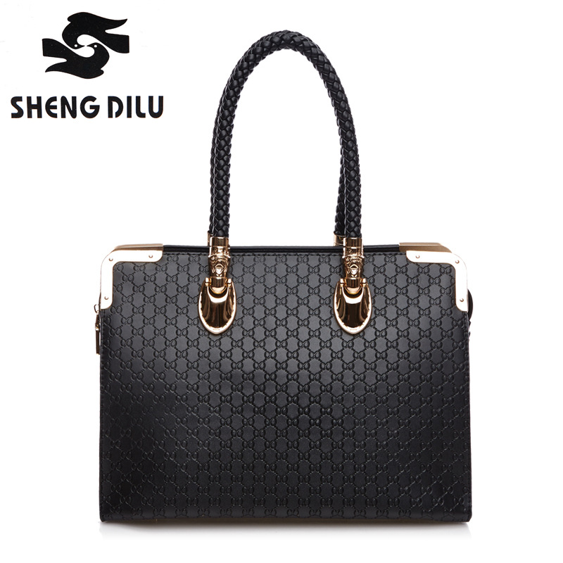 shengdilu brand Advanced cowhide handbag Europe new 2018 women 100% genuine leather shoulder Messenger bag free Shipping shengdilu brand genuine leather handbag 2018 new women tote crocodile shoulder messenger bag bolsa feminina free shipping