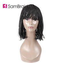 Sambraid 12 inch Short Box Braided Bob Synthetic hair Wig  None Lace For BOB Braids Black Women