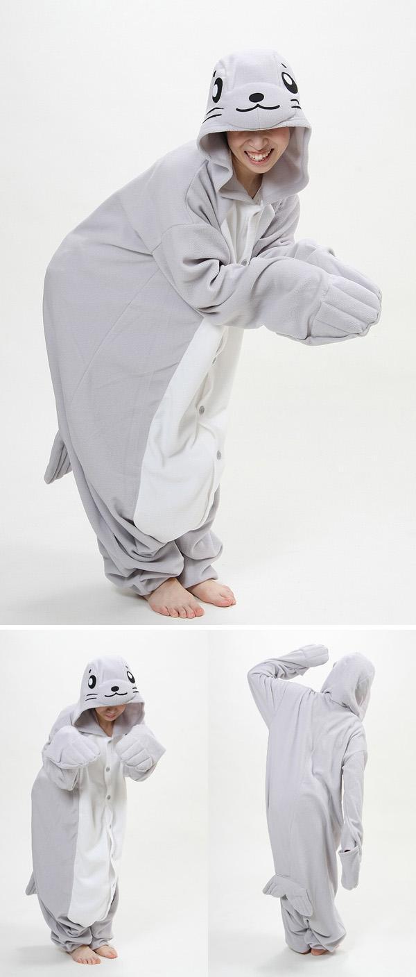 Drop shipping Wholesale Designer Animal Seal Cos Party Pajamas One-piece Adult Unisex Onesie Fleece Hooded Wedding Pajama