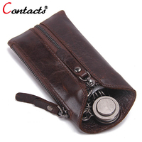 CONTACT S Luxury Men Key Wallets Genuine Leather Key Case Zipper High Quality Key Purses Famous