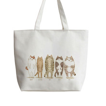 If the world is a cat Japanese Anime Canvas Tote bags Cartoon Shopping bag school Shoulder Reusable Bag AN169