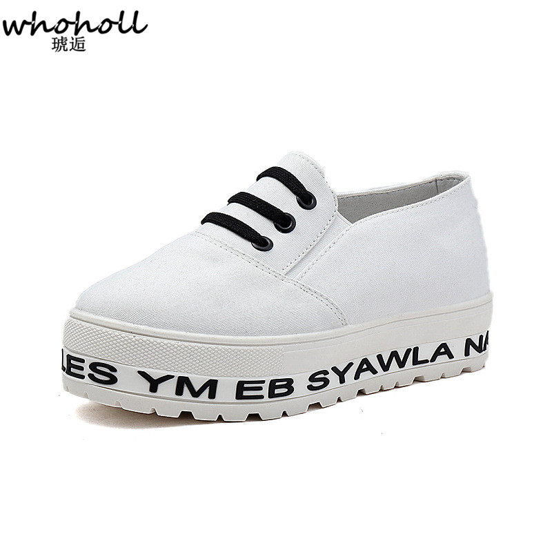 2018 Spring Women Casual Canvas Shoes White/Black Color Sneakers Breathable Platform Gum Shoes Slip On Footwear Work Shoes Woman de la chance women vulcanize shoes platform breathable canvas shoes woman wedge sneakers casual fashion candy color students