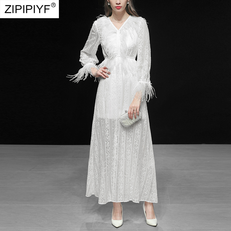 Women White Dress Lantern Sleeve V Neck High Waist Tassel Hollow Out Embroidery Floral Maxi Dress Party Vestidos C3301