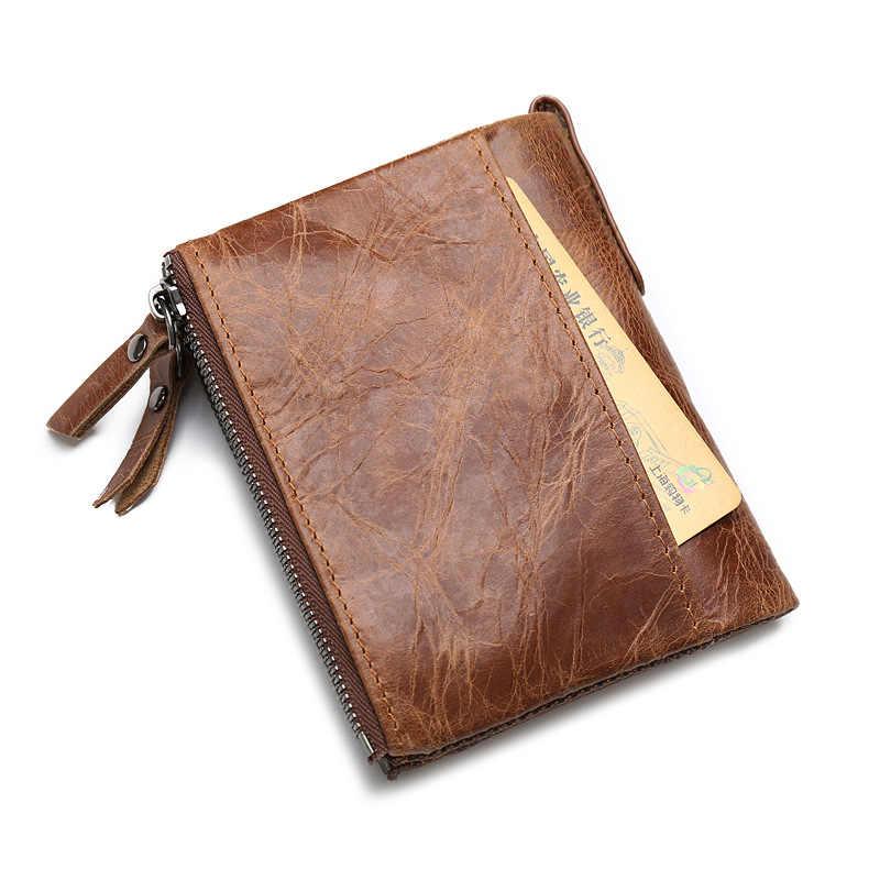 JINBAOLAI Sıcak Satış Hakiki Çılgın At Inek Derisi Deri Erkek Cüzdan Kısa bozuk para cüzdanı Küçük Vintage Marka Kaliteli Tasarımcı Cüzdan