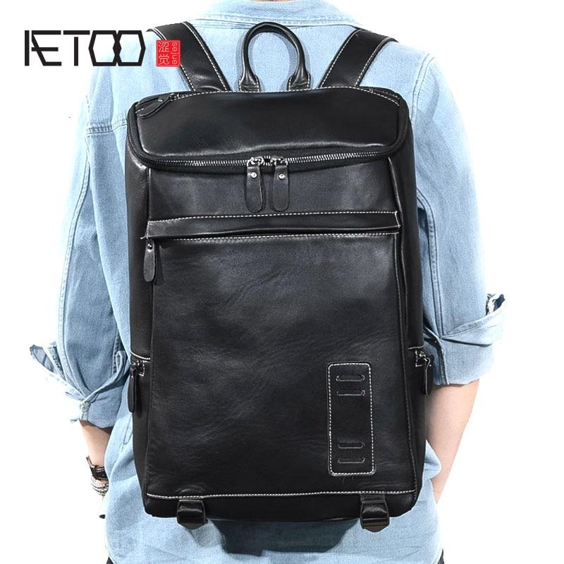 AETOO Leather men's shoulder bag new large capacity 15.6 notebook leather travel backpack bag