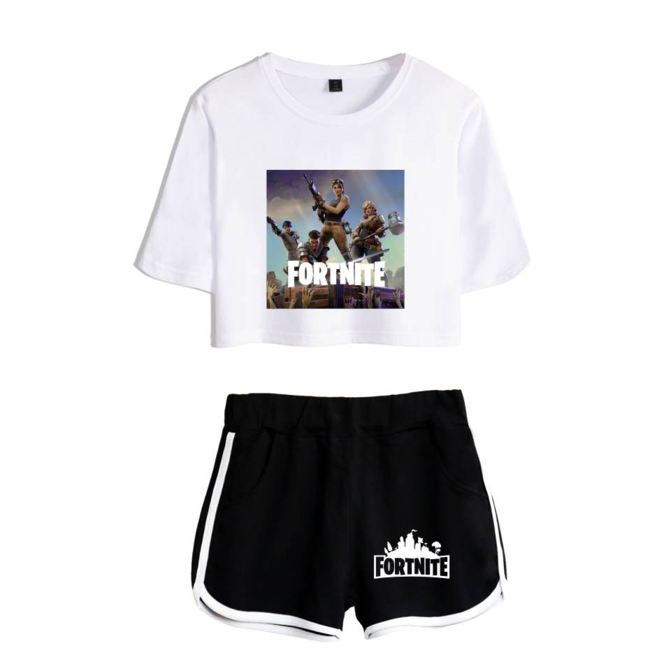 Fortnite Two-piece 2018 Summer Print T-shirt Fortite Anime Hot Games Ladies Sexy Nude Short-sleeved + Shorts Fashion Set