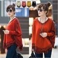 Women Batwing Knitwear Sleeve Tassels Hem loose Pullover blouse Irregularity Cloak Poncho Women Autumn Winter Oversized Sweater