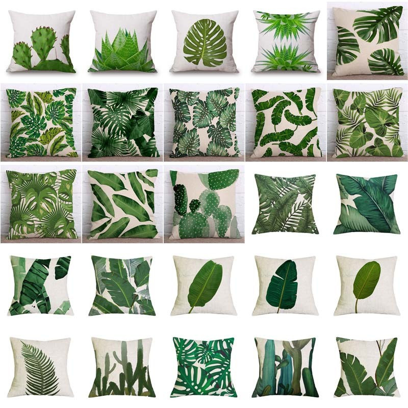 Tropical Plants Palm Leaf Green Leaves Monstera Cushion Covers Hibiscus Flower Cushion Cover Decorative Beige Linen Pillow Case sloth square cushion cover throw pillow case
