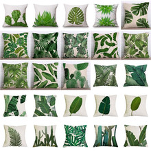 Tropical Plants Palm Leaf Green Leaves Monstera Cushion Covers Hibiscus Flower Cushion Cover Decorative Beige Linen Pillow Case(China)