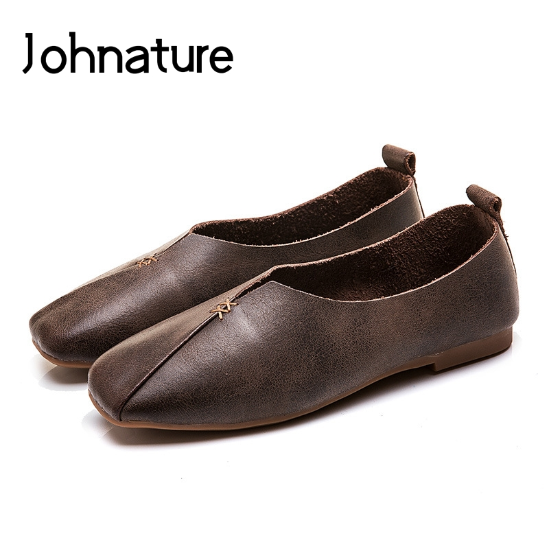 Johnature 2019 New Spring autumn Handmade Genuine Leather Casual Square Toe Shallow Slip on Loafers Women