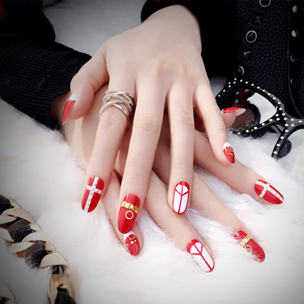 24pcs/Set Long Bride Red False Nails Pink Full Cover Artificial Fake ...