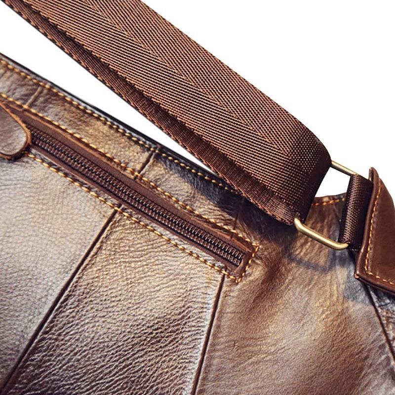 Högkvalitativa män Äkta läderkofta Vintage Sling Bröstback Dag - Handväskor - Foto 6