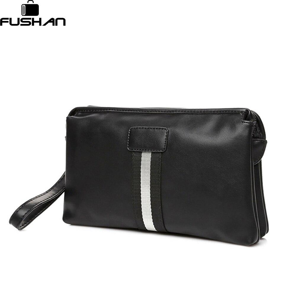 FUSHAN Business Leather Men Cltuch Bags Mobile <font><b>Phone</b></font> <font><b>Case</b></font> <font><b>Cigarette</b></font> Purse Pouch First Layer Cowhide Male Handy Bag Wallet
