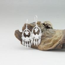 999 Sterling Silver Dangle Butterfly Earrings For Women Tassel Drop Earings Chinese Handmade Luxury Jewelry Miao Vintage