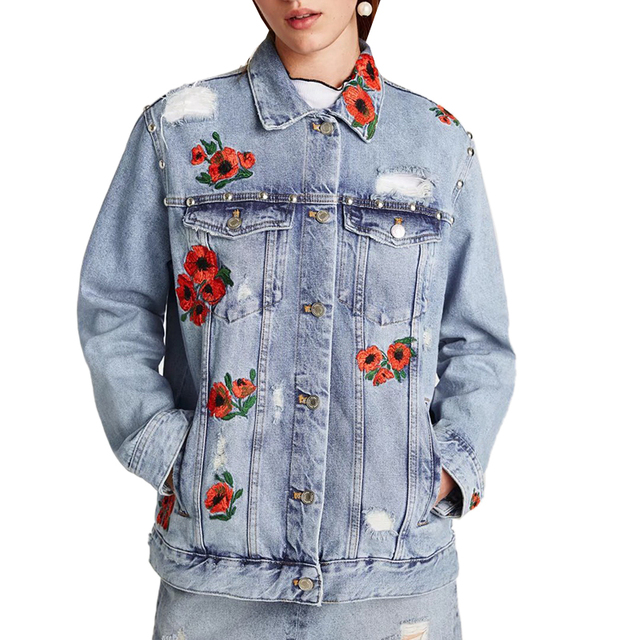 2293778dae1 NYMPH Women 2017 New Floral Embroidered Denim Jacket Women Plus Size Hole  Rivet Distressed Loose Autumn Jackets Coat