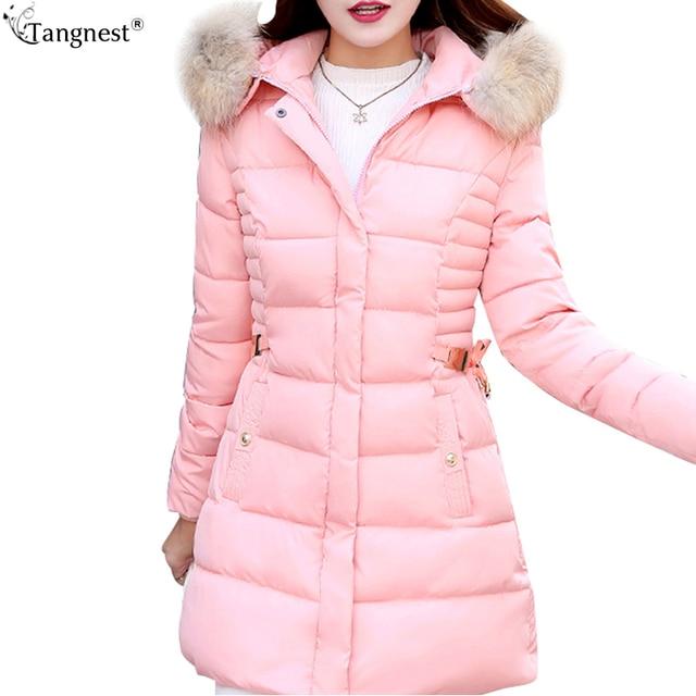 Tangnest forro da pele do falso com capuz fino casaco 2017 nova moda doce Cor Longo Acolchoado Jackets Plus Size Casacos de Inverno Mulher WWM1572