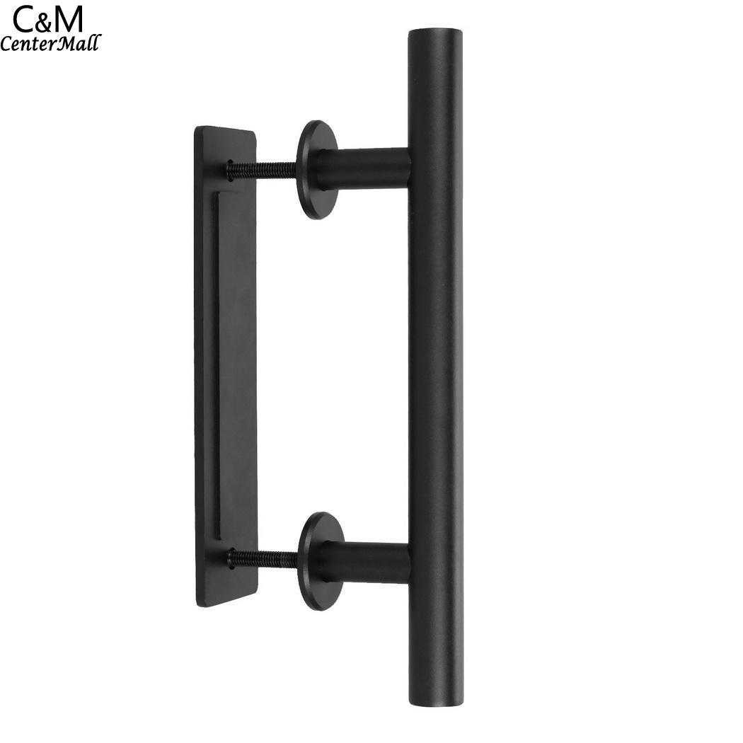Handle 12inch Pull Set Pull Hardware Stainless Flush Steel Black Door Barn And цена