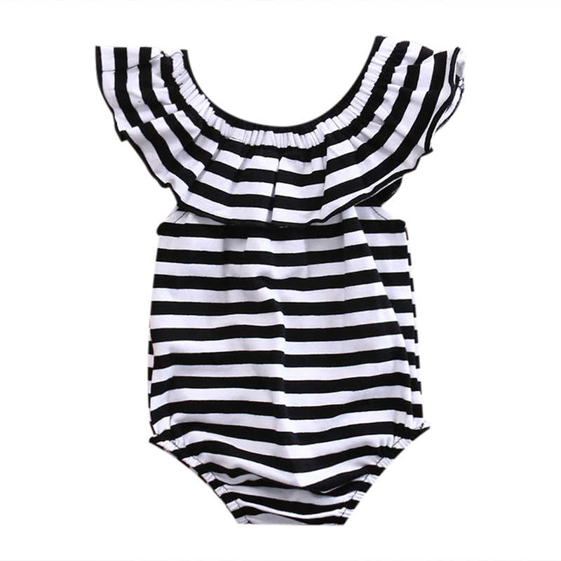 New Fashion Stripe Newborn Baby Girl Clothes Romper Off Shoulder Jumpsuit Sunsuit Clothes Summer Outfits