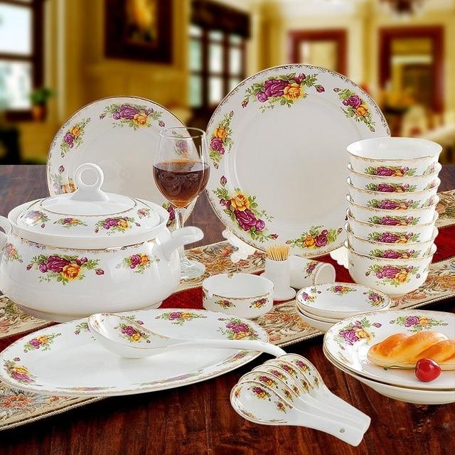 guci Jingdezhen high-grade glaze color bone porcelain home porcelain plate dish set Chinese high & guci Jingdezhen high grade glaze color bone porcelain home porcelain ...