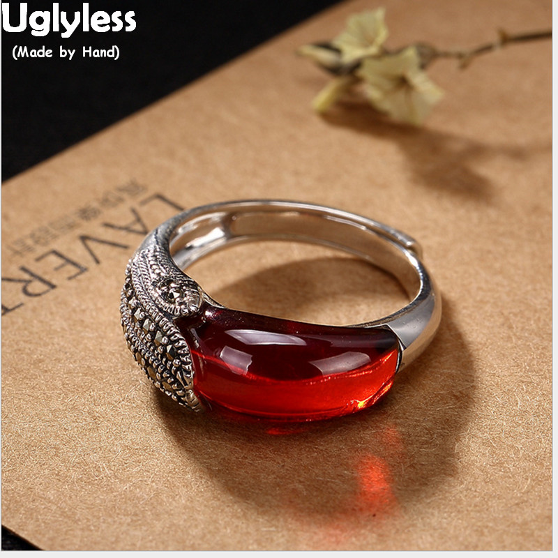 Uglyless Real 925 Sterling Silver Creative Peacock Feather Rings for Women Vintage Thai Chalcedony Wild Open Ring