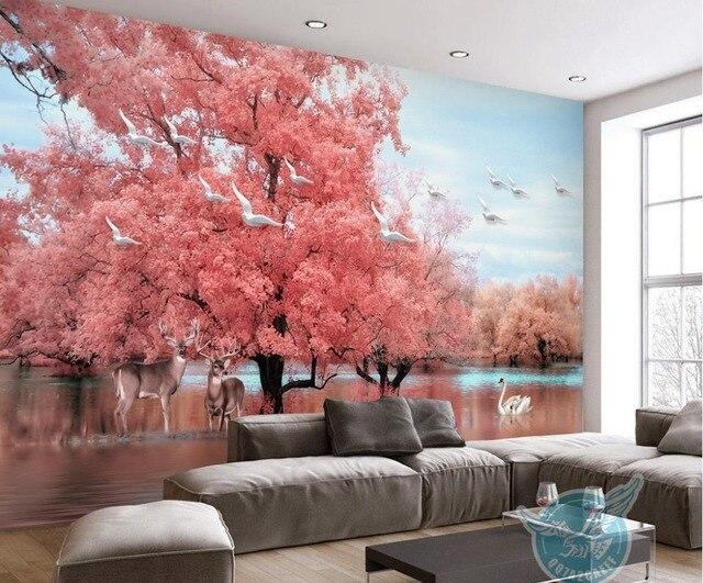 Pink Extra Large Wall Murals Big Tree animal Swan Lake 3d Wallpaper