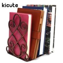 Kicute 2pcs/lot Vintage Iron Bookend Design Shelf Craft Stand Antique Bookend Decoration High Quality Office School Supplies