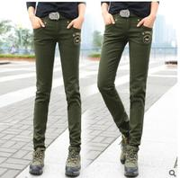 RenYvtil 2017 Army Brand Military Pants Women Stylish Solid Capris Green Breathable Cotton Fabric Regular Trousers Skinny badge