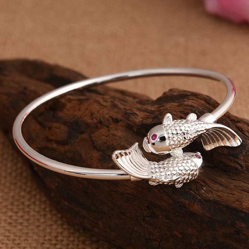 New Pisces Bracelet Vintage Double Fish Bracelets Bangles For Women Charm Jewelry Bohemian Tibet Silver Color