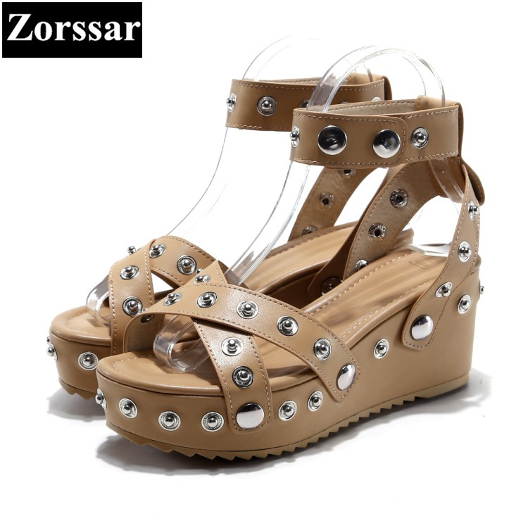 Summer Shoes Woman fashion rivet wedges High heels sandals women platform shoes 2017 fashion leather womens peep toe heels phyanic 2017 gladiator sandals gold silver shoes woman summer platform wedges glitters creepers casual women shoes phy3323