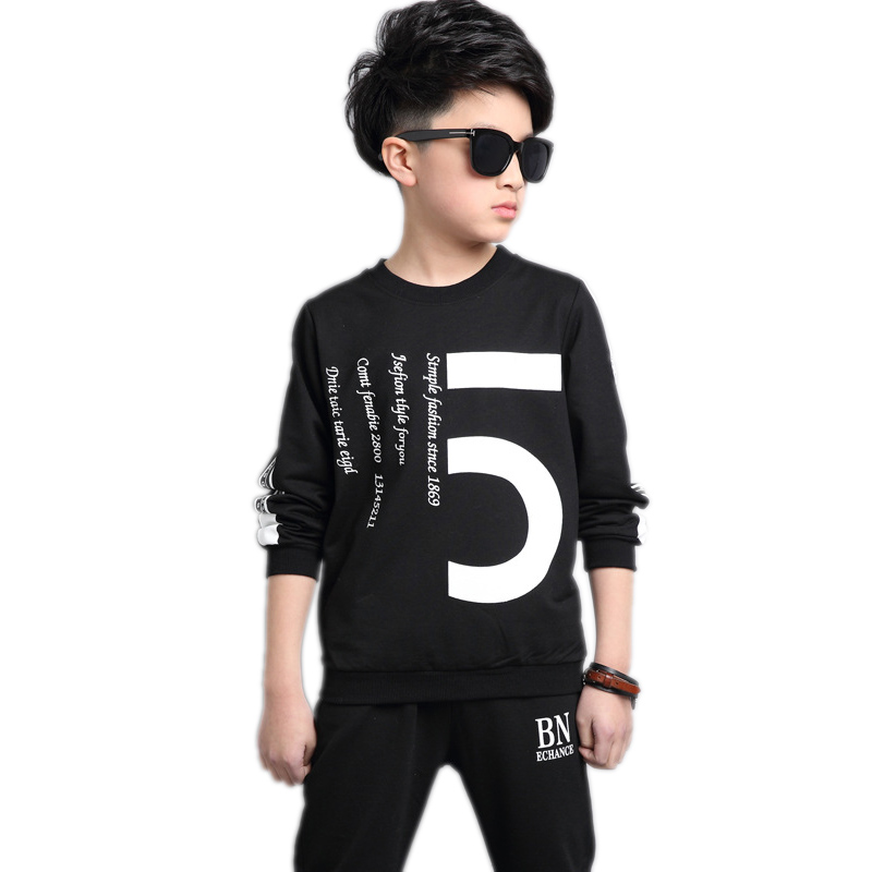 2017 new autumn children clothing teenager boys clothes sets letter printed black hoodies&sweatshirt+pants 2pcs boys sports suit