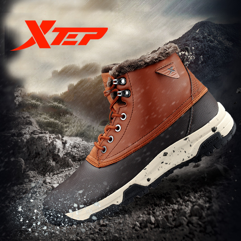 XTEP Brand Profession Hiking Shoes for Men Warm Thermal Climbing Boots Outdoor Trekking Mountain Men Shoes Sneakers 987319179397 camssoo men s winter outdoor trekking hiking boots shoes for men warm leather climbing mountain boots shoes man outventure