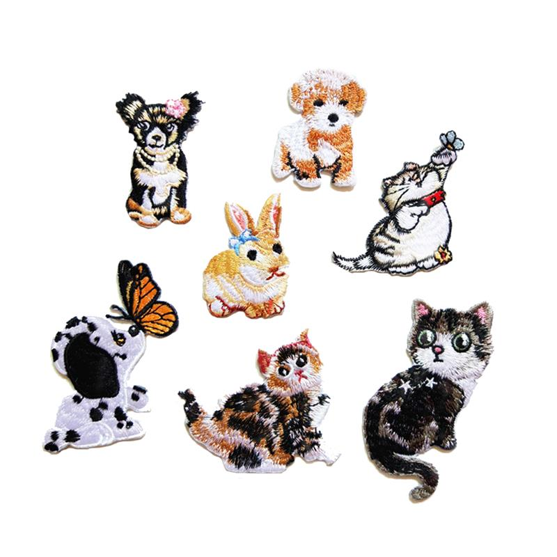 7Pcs Embroidery Iron On Patches Sew On Patch Dog Cat Shaped Badges ...