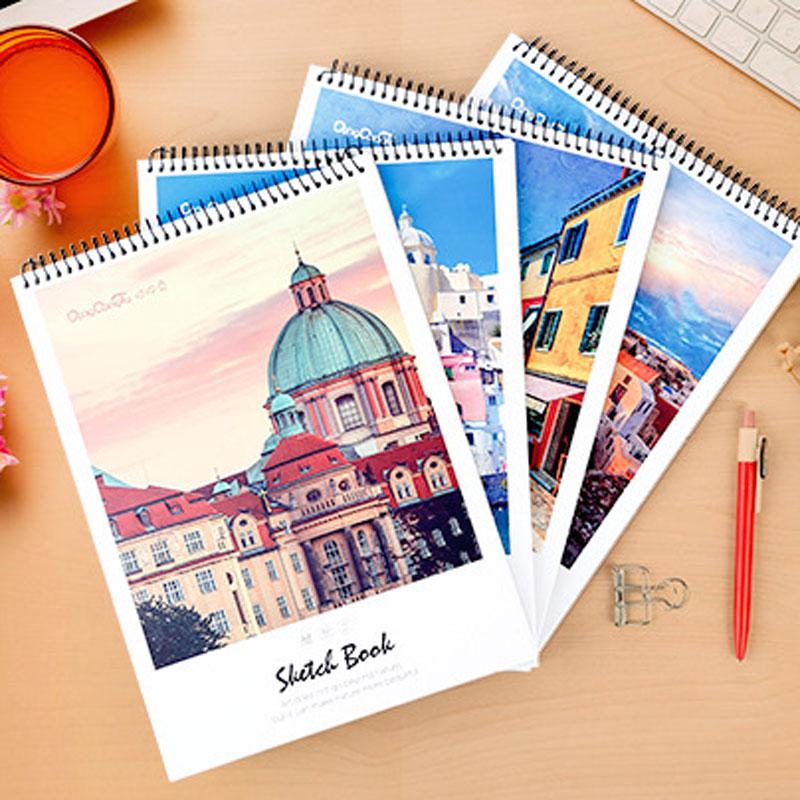 Dilosbu Scenic Spiral Notebook A4 Sketchbook Crayon School Supplies Paper Notebook Travel Planner Notebooks For Students Gift кейс для диджейского оборудования thon case for xdj rx notebook