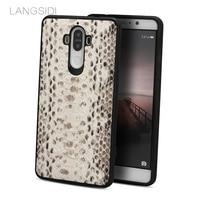 wangcangli brand mobile phone case natural python skin phone cover For Huawei Mate 9 full handmade custom processing