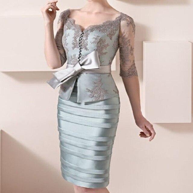 Élégant 2019 mère de la mariée robes gaine demi manches dentelle arc courte robe de mariée mère robes pour mariage