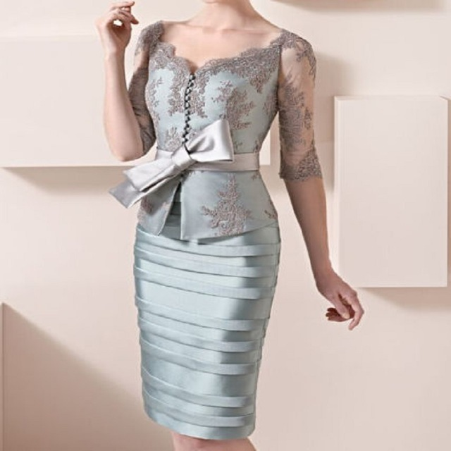 Elegant 2019 Mother Of The Bride Dresses Sheath Half Sleeves Lace Bow Short Wedding Party Dress Mother Dresses For Wedding