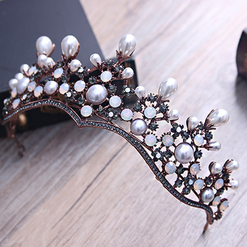 Baroque Vintage Bronze Crystal Pearl Tiaras and Crowns Bridal Floral Crown Headband Women Bride Hair Jewelry Pageant Diadem