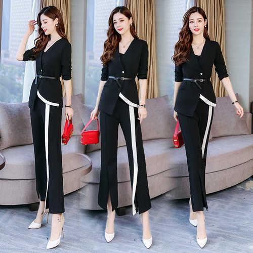 Trendy Two Piece Set Top And Pants Woman Suit Office Work Ensemble Femme  Survetement Conjunto Feminino d540f943936b