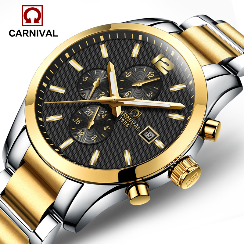 Luxury  Carnival watch men silver stainless steel waterproof Automatic machine black dial wristwatch relogio masculine stainless steel cuticle removal shovel tool silver