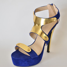 Women Sandals 2015 Casual Solid Suede Women's Stiletto Heel Platform Sandals Shoes Ankle-Warp With Charm zapatos mujer