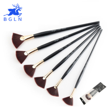 BGLN 6Pcs/Set Nylon Hair Oil Paint Brush Fan-Shaped Acrylic Watercolor Painting Brush for Art Artist Supplies School Stationery