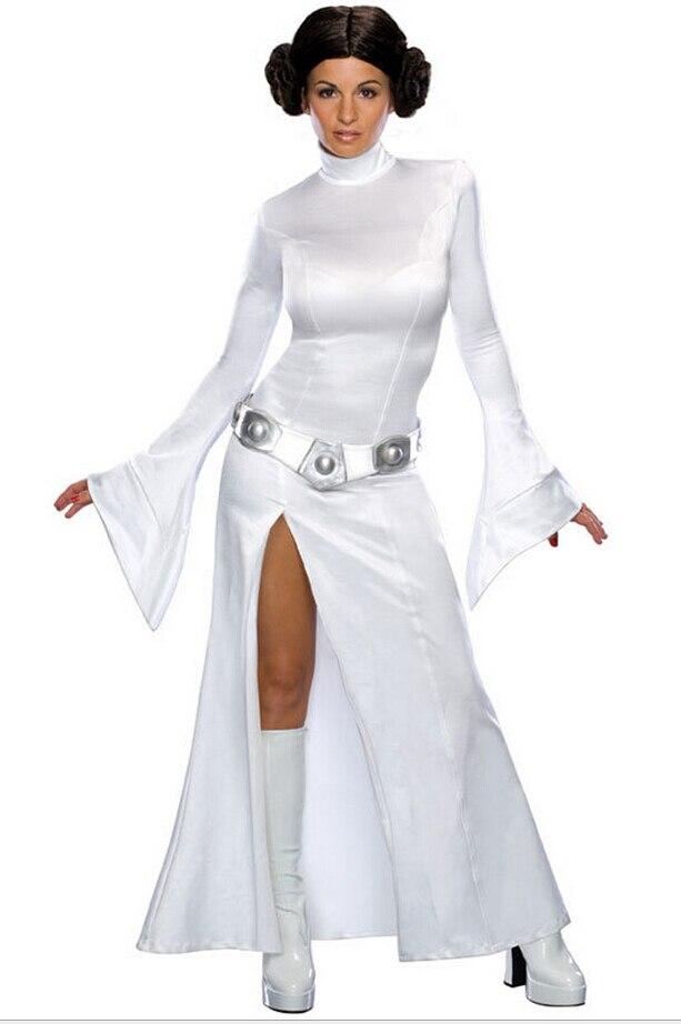 Adult Princess Leia Organa Solo Cosplay Dress Wig 2PCS Set Woman Halloween Cos