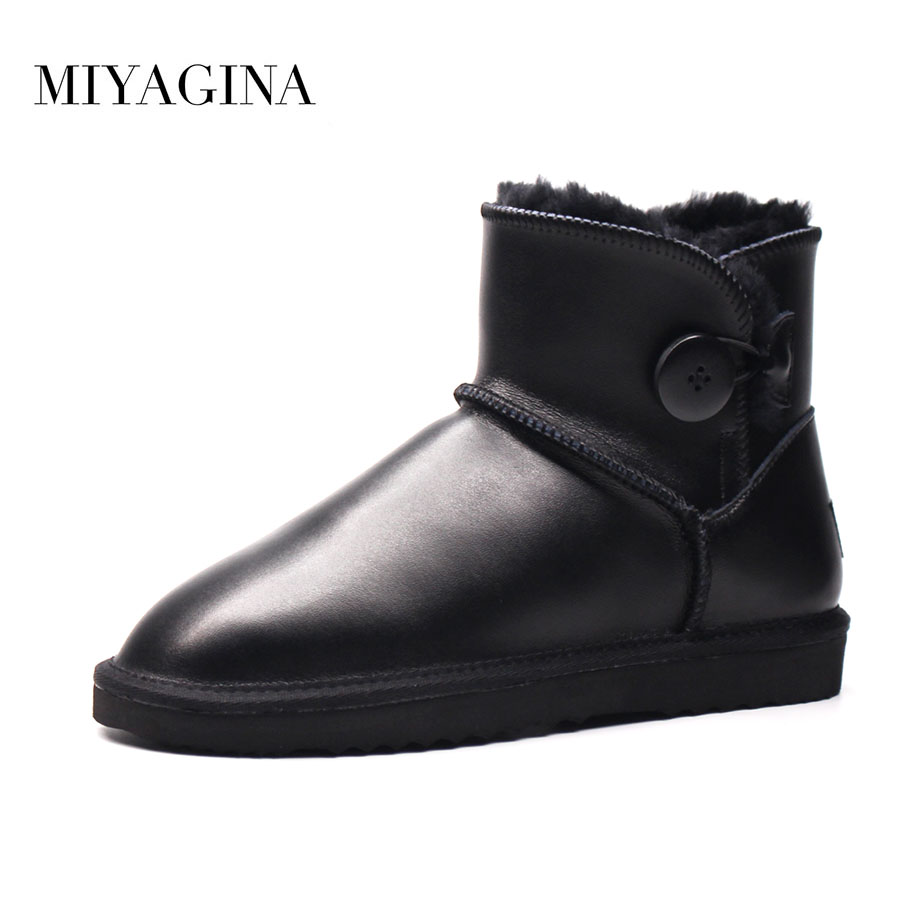 MIYAGINA Snow Boots Genuine Leather Women Fur Winter